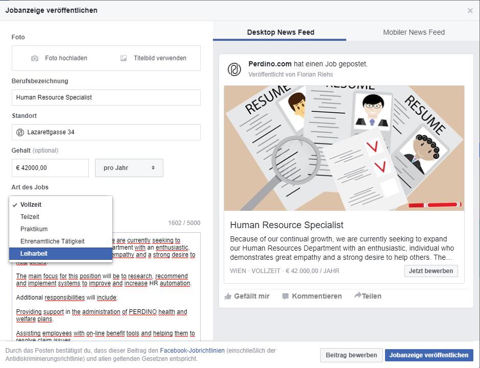 Stellenbeschreibung erstellen bei Facebook Stellennazeige