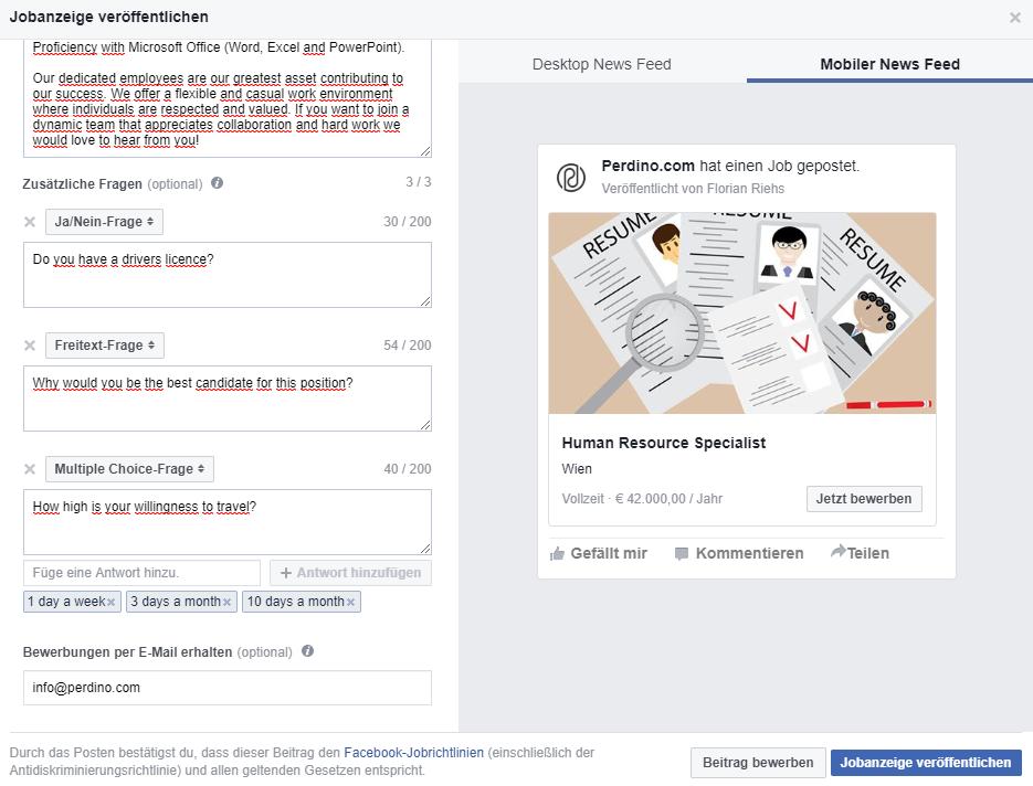 Fragen an die Bewerber auf Facebook Stellenanzeige
