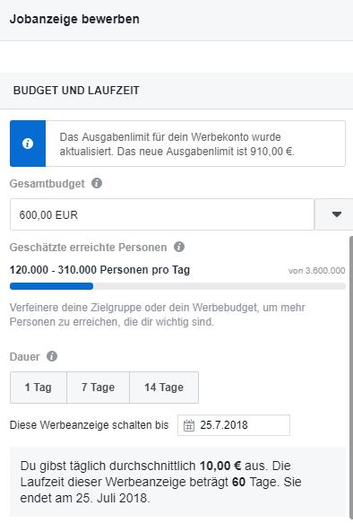 Facebook Stellenanzeige Werbebudget verwalten.