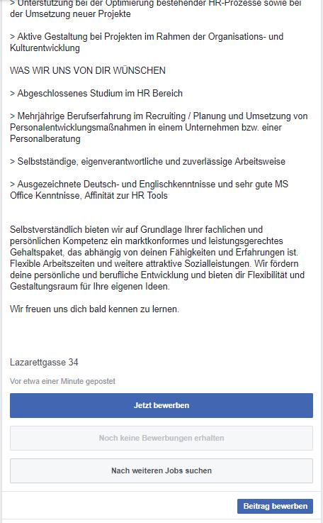 Facebook - Jetzt auf Stellenanzeige bewerben