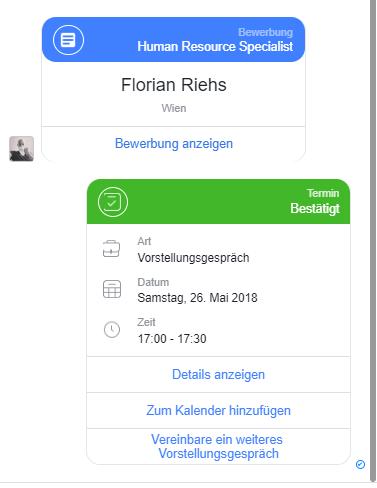 Bewerber Kommunikation auf Facebook Messenger