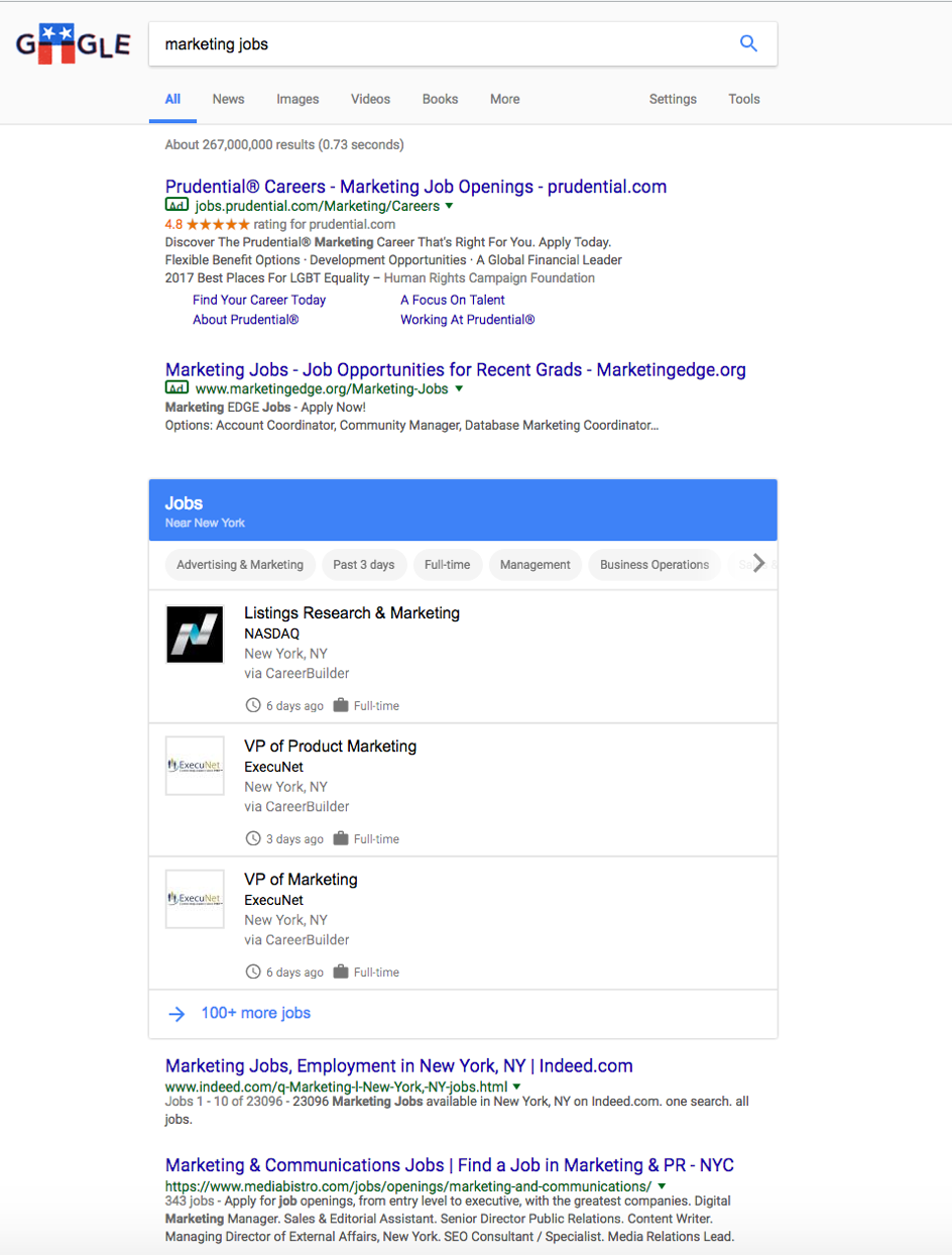 Screenshot: Google for Jobs Suchergebnisliste by Google