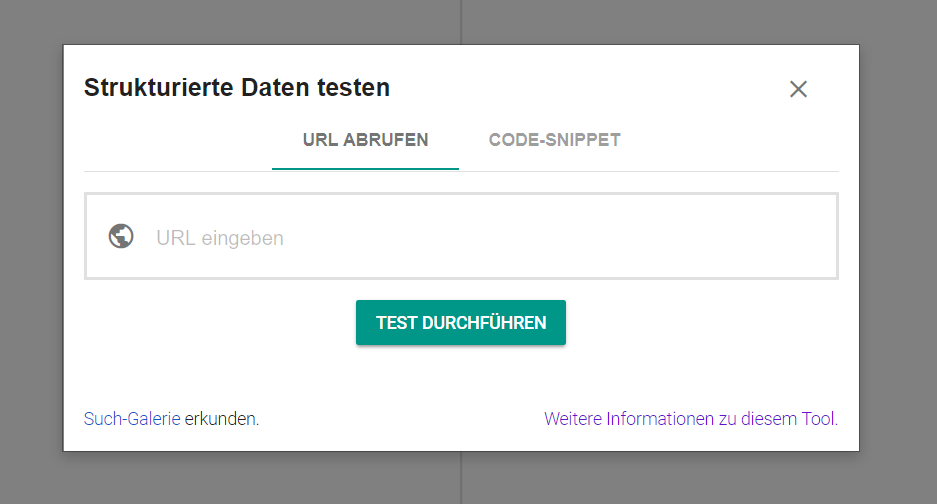 Screenshot- Testtool von Google